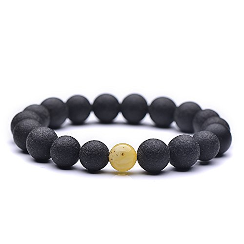 Genuine Amber - Unisex Baltic Amber Bracelet for Adults - Round Shaped Not Polished Beads With One Polished White Bead - 100% Natural Baltic Amber - 7,8 Inches - Black, White (Amber Bracelet Shape)