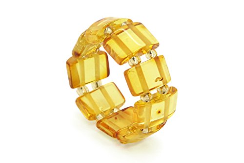 (Genuine Natural Baltic Honey Amber Adjustable Stretch Ring for Women)