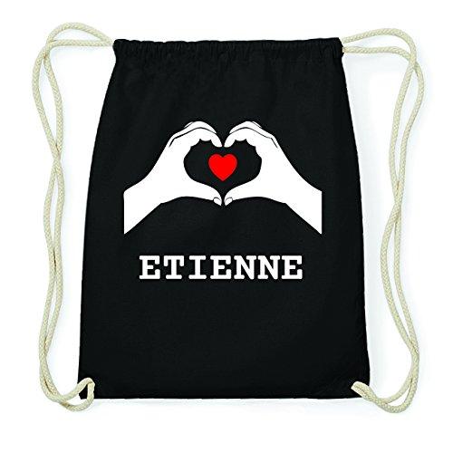 JOllify ETIENNE Hipster Turnbeutel Tasche Rucksack aus Baumwolle - Farbe: schwarz Design: Hände Herz