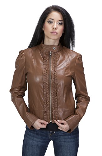 United Face Womens Ruffle front Lambskin Leather Scuba Jacket, Cognac, Large