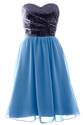 Sky Blue Chiffon Elegant MACloth Formal Bridesmaid Short Dress Navy Sequin Gown Strapless Dark qw4APZ