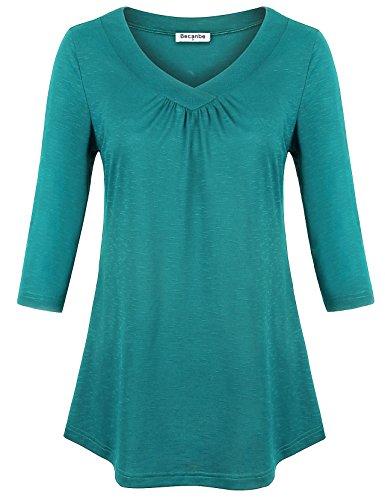 Cotton Point Collar Blouse (Becanbe Women's Plus Size Tshirt Top 3/4 Sleeve Pleats Collar Blouses River Green Large)