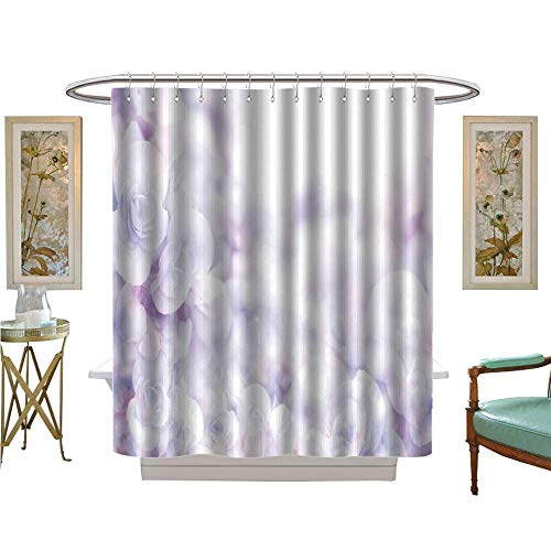 Flower Shower Giraffe Blue (luvoluxhome Shower Curtains Digital Printing Soft Sweet Blue Purple Flower Background from Begonia Flowers Patterned Shower Curtain W72 x L84)