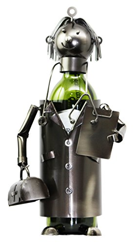 Ebros Gift General Doctor Physician On Duty Hand Made Metal Wine Bottle Holder Caddy Figurine for Surgeons Medics Caregivers Medical -
