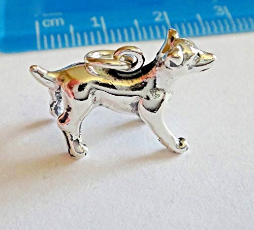 Sterling Silver 12x18mm ~3.2gram 3D Jack Russell Rat Terrier Dog -
