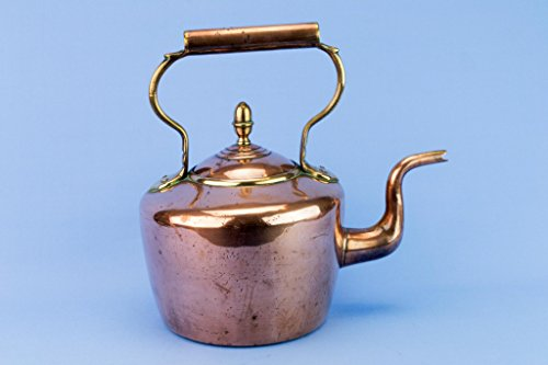 Large Copper Kettle Tapered Victorian William Soutter & Sons Antique English 1870s Acorn Brass by William Soutter & Sons