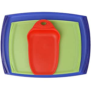 Dexas 3-Piece Cutting Board Set, Primary (Red, Green, Blue)