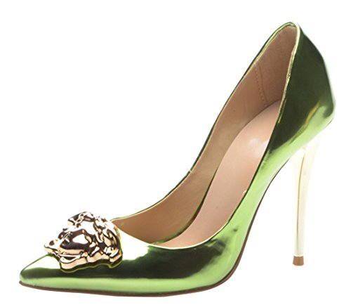 Toe Heel Evening Burnished Shiny Patent Leather Dress TDA Green Stiletto Party Women's Pointed Metal Pumps XSW4n4ZfT