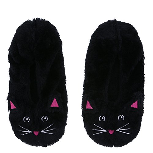Girl Slipper Socks Black Kitty Cat