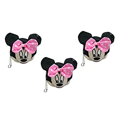 Disney Minnie Mouse Face Plush Coin Wallet x 3: Toys & Games