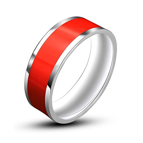 Three Colors Enamel jewelry Mens & Women Rings Stainless Steel Fashion jewelry Rings (Red 11)
