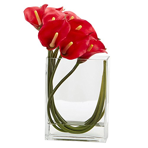 Red Rectangular Vases - Nearly Natural Calla Lily in Rectangular Glass Vase, 12