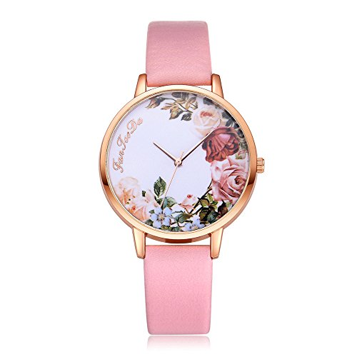 Womens Quartz Wrist Watches,Hengshikeji Unique Numeral Analog Clearance Lady Wrist Watch Female Watches on Sale Watches for Women,Flower Pattern of Dail Fashion Leather Band Circle ()