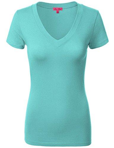 Comfy Basic Cotton Short Sleeve V-neck Top T-Shirts 005-Oasis US L