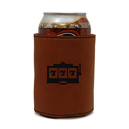 MODERN GOODS SHOP Leather Beer Coozie With Vegas Slots Engraving - Oil, Stain And Water Resistant Beer Hugger - Standard Size Beer And Soda Can Sleeve (Vegas Party Beer Wedding)