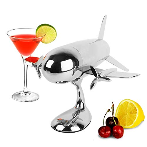 Le'raze Airplane Cocktail Shaker, Premium 24 Ounce Bar Shaker With Stand, Airplane Art Bar Drink Shaker, Aviation Bartender Mixer, Ideal For Flying Bartender, Pilot Gift, Chrome Airplane Decor by Le'raze (Image #1)