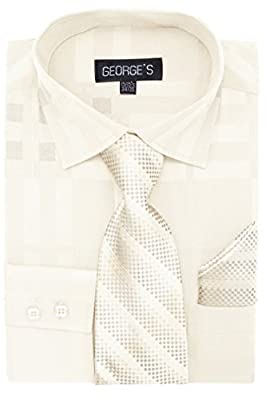 George's Men's Monochrome Dress Shirt,Long Tie, and Hanky - Many Colors