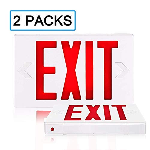 SPECTSUN Led Exit Sign with Battery Backup, Hradwired Red Exit Light LED - 2 Pack, Lighted Exit Sign Bulb/Exit Combo Light/Battery Exit Sign/Lighted Exit Sign Battery Powered