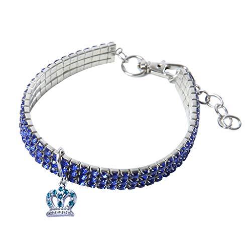 Kimanli Pet Collars, Mini Pet Dog Rhinestone Collars Fancy Dog Heart Shaped Necklace (M, Blue)