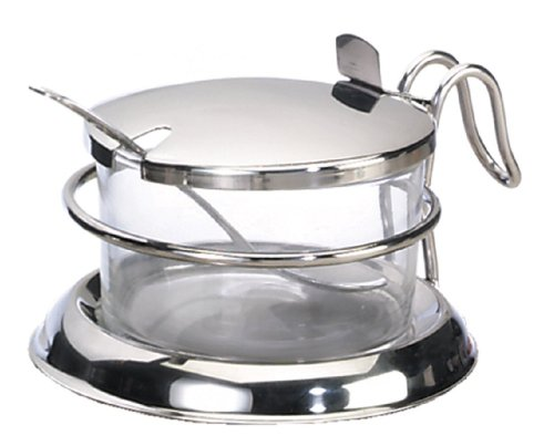 Condiment Glass (TableCraft H357 6-Ounce Glass Base Condiment Holder With Stainless Steel Lid And Spoon)
