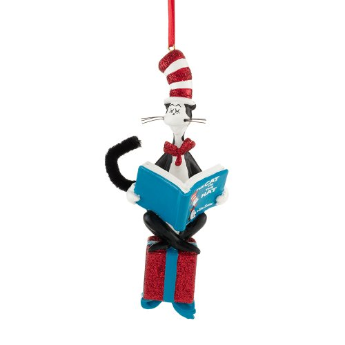 Department 56 Dr. Seuss Cat Reading on Present Ornament, 5 inch ()