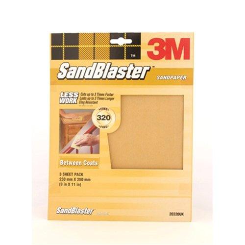 3M 20320UK P320 Between Coats Fine Grit Sandblaster Sandpaper Abrasive Sheet - Gold (Pack of 3)