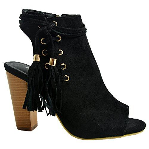 Cucu Fashion New Womens Fringe Sandals Ladies Girls High Block Heels Peep Toe Zip Comfy Party Summer Ankle Shoes Size Uk 3-8 Black RnFNn