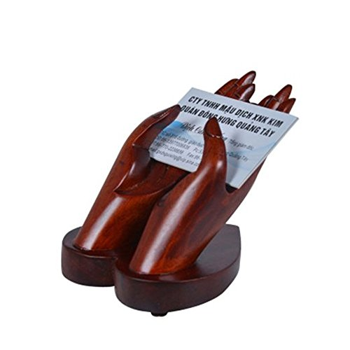 Hands Business Card Holder - Kangkang@ Wooden Hands Model Collection Business Card Holder, Red