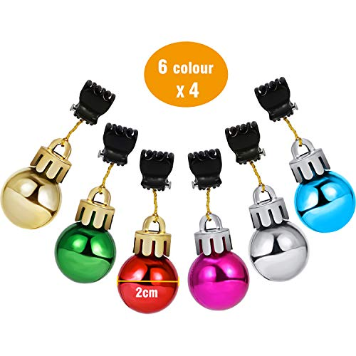 Jovitec 24 Pieces Christmas Beard Baubles Ornaments Colorful Christmas Facial Ornament for Men Holiday Decoration