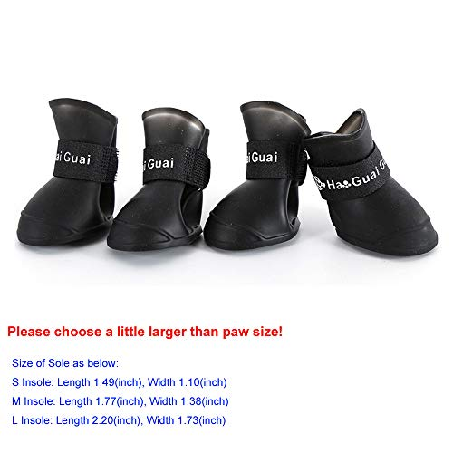 Wakoki Waterproof Dog Boots Ruggled Anti-Slip Pet Shoes for Small Medium Large Dogs Candy Color Cute Rain Snow Dog Walking Shoes (S, Black)