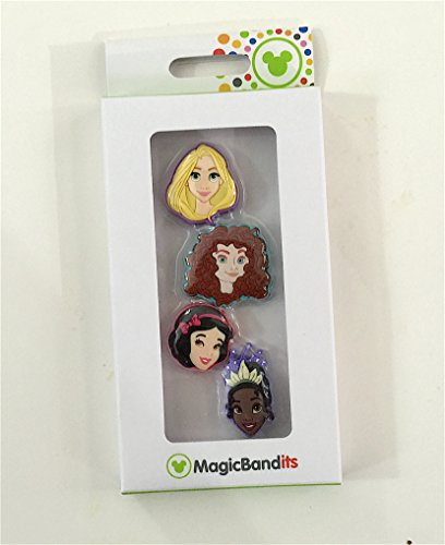 Disney Parks Princess Face Magic Band Bandits Set of 4 Charms Tiana Rapunzel Snow White Merida