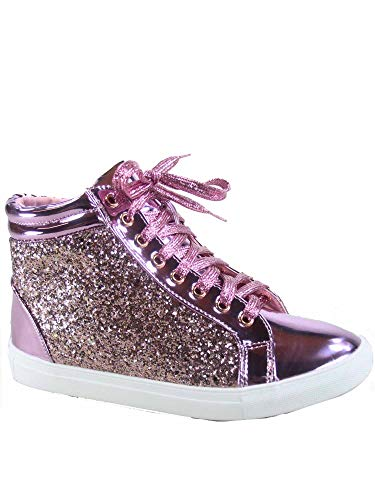 FZ-Sparkle-25 Women's Fashion Glitter Flat Heel High Top Lace Up Sneaker Shoes (7 B(M) US, Pink)