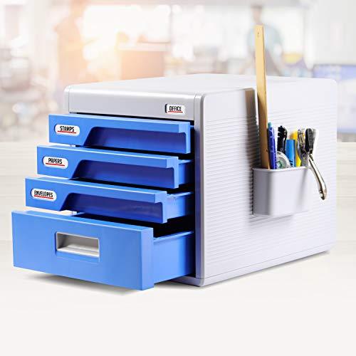 Locking Drawer Cabinet Desk Organizer - Home Office Desktop File Storage Box w/ 4 Lock Drawers, Great for Filing & Organizing Paper Documents, Tools, Kids Craft Supplies - SereneLife SLFCAB20 (Small Desk Locking Drawer)