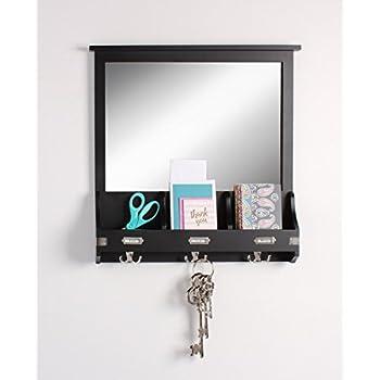 Kate and Laurel 209303 Stallard Decorative Rustic Wood Mirror Wall Home Organizer,Black