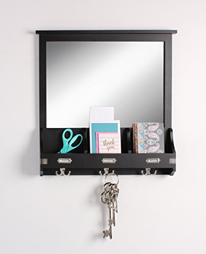 Kate and Laurel 209303 Stallard Decorative Rustic Wood Mirror Wall Home Organizer,Black by Kate and Laurel