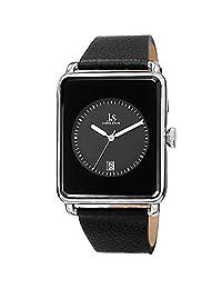 Joshua & Sons Men's Quartz Rectangle Date Leather Strap Watch, Silver-Tone/Black
