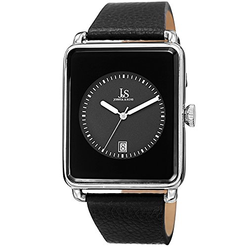 Joshua & Sons Men's JS95SSB Silver Quartz Watch with Black Dial and Black Leather Strap