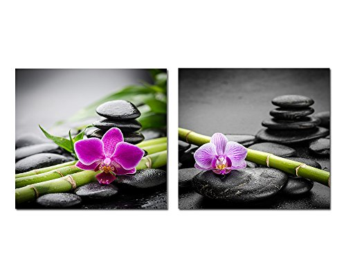 purple verbena art 2 panels spa black stone with bamboo flower photography pirnts on canvas painting modern hd giclee walls artwork for home bathroom