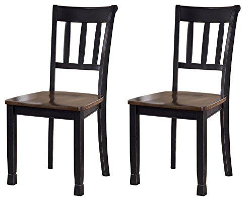 Ashley Furniture Signature Design - Owingsville Dining Room Side Chair - Latter Back - Set of 2 - Black-Brown - Ashley Furniture Dining Table