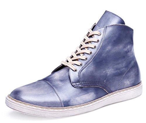 CSDM Scarpe da sposa casual di cuoio genuino del cuoio genuino di di cuoio di cuoio genuino della punta del puntino di cuoio , grey blue , 43