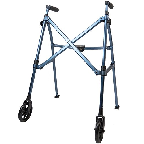 Able Life Space Saver Walker - Lightweight Folding & Height Adjustable Adult Travel Walker for Seniors + Fixed Wheels & Rear Glides - Cobalt Blue