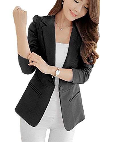 Tailleur Slim Primaverile Bavero Button Lunga Mode Donna Business Con Cappotto Vintage Di Giacca Giacche Schwarz Manica Blazer Tasche Fit Marca Monocromo Da Autunno Ufficio WqI7cOqT5