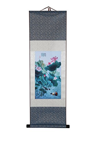 I-MART Art Asian Wall Scroll, Silk Chinese Painting Oriental Wall Decor (Lotus Flowers in The Pond)