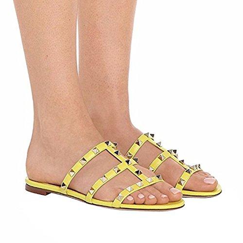 Borchie Donna Giallo Mid Heels Borchie per Toe con 35 Sandali Sandals Heel Chunky Slide Pan Caitlin 45EU Slipper Open Block Dress con 81qIYE