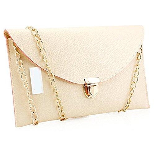 Messenger Women Bag Envelope Leather Beige Bags Handbag Shoulder Crossbody Satchel Clutch Lady Tote Purse Fashion 4qxTBwR