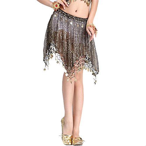 Belly Dance Netting Cloth Coins Short Skirt Dancing Dress Costume black-gold (2)