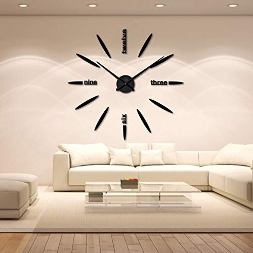 Wall Clock Metal+Eva+Acrylic muhsein 2019 New Fashion 3D Super Big size Mirror wall stickers DIY Wall clocks Home Decor ()