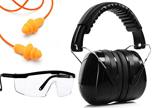 Ear Protection Muffs set, Ear Plugs, Scratch Resistant Safety Glasses Kit and Free Paper Target | Noise Filtering Hearing Protection For Firearms Shooting, Aviation, Mowing Gift Set (Black)
