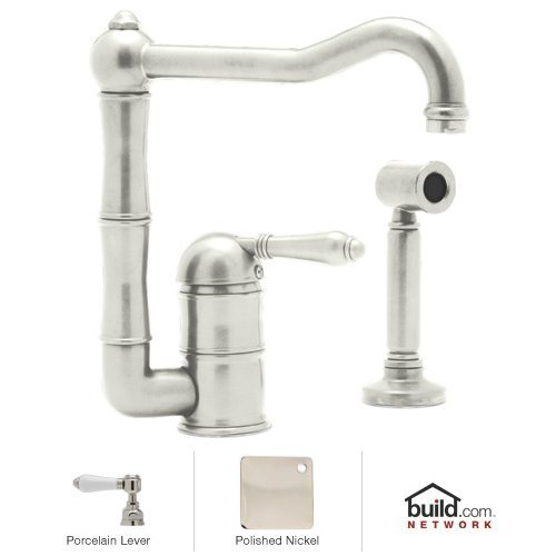 ountry Kitchen Kitchen Faucet with Side Spray And Porcelain Le, Polished Nickel (Spray Porcelain)