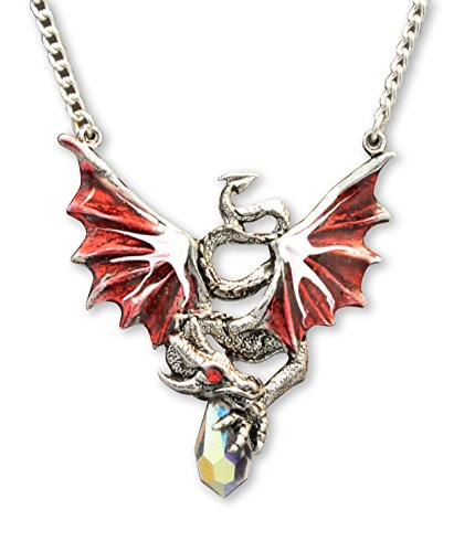 Red Dragon Holding Crystal Medieval Renaissance Pendant Necklace (Magic Dragon Costume)